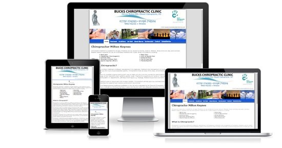 Bucks Chiropractic Website showing responsive design on multiple devices