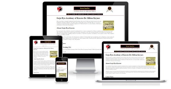 Academy of Karate-Do showing responsive design on multiple devices